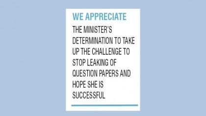 Minister's tough stance against question leak