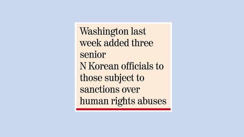 North Korea condemns US-blacklisting of 3 officials