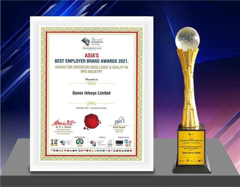 Genex Infosys wins 'Best Employer Brand 2021Award'