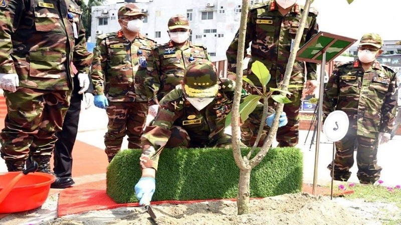 Chiefs of three services inaugurate tree plantation programmes separately