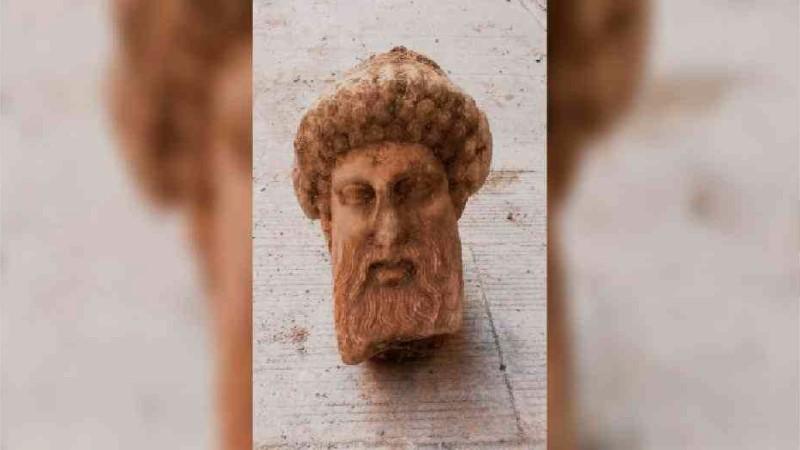Ancient Greek god's bust found during sewage work