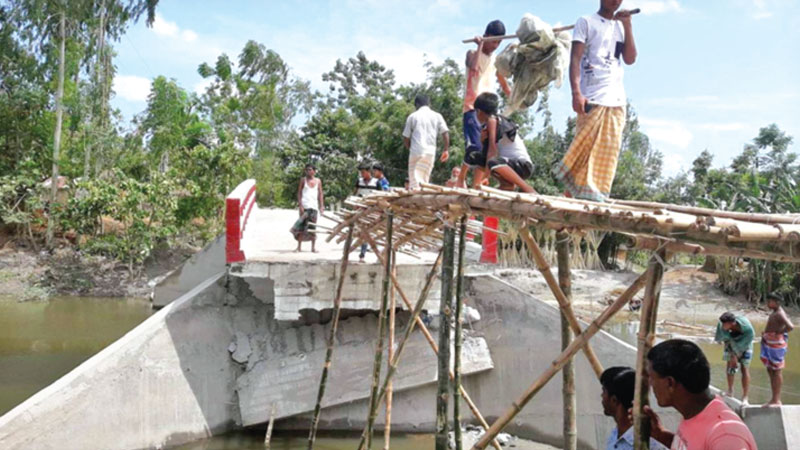 Bridge collapses within 3 months of construction
