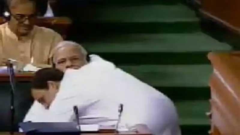 Rahul Gandhi hugs Modi after sharp attack during no-confidence debate