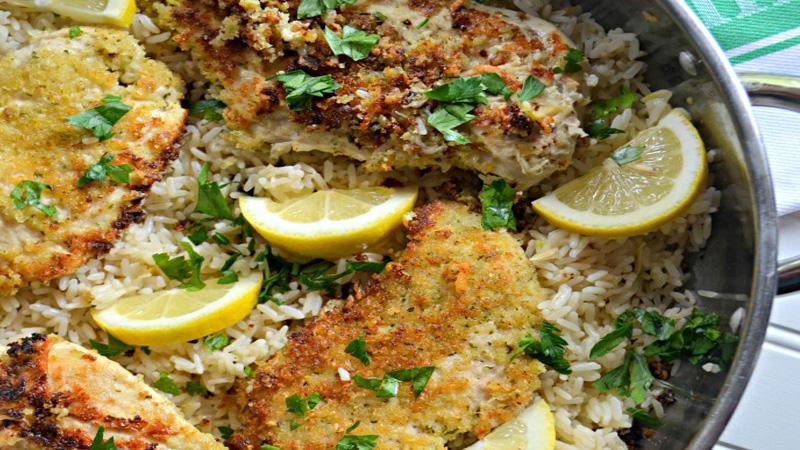 Parmesan Chicken with Lemon Rice