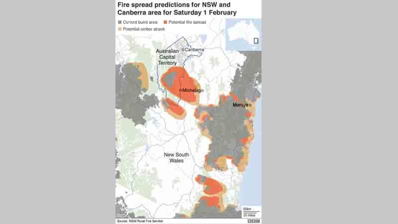 Wildfires threaten Australian capital