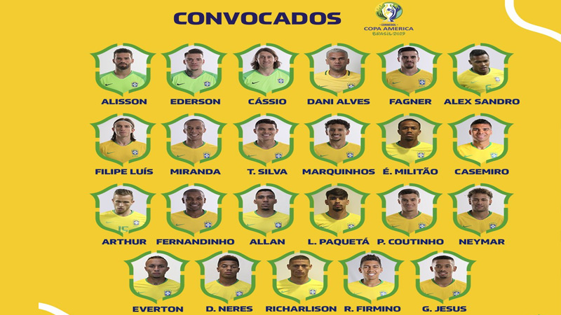 Brazil announce squad for Copa America