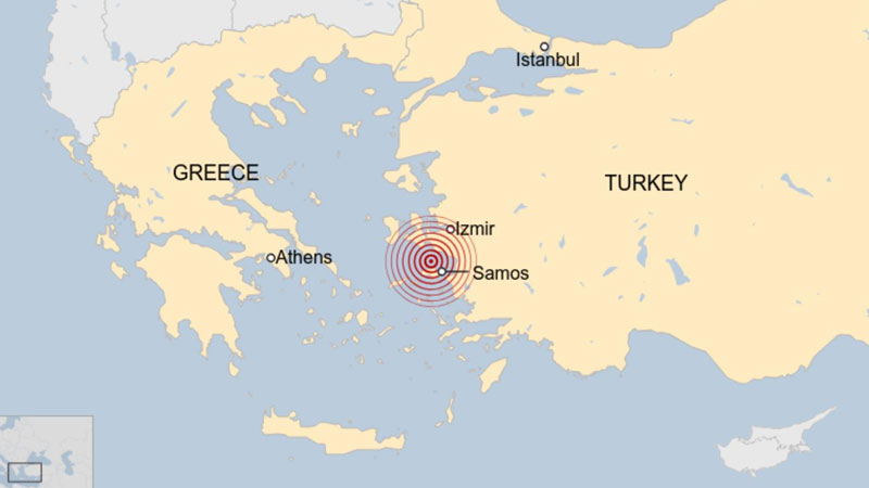 Earthquake hits Greece and Turkey, bringing deaths and floods