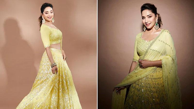 Madhuri Dixit in gorgeous yellow lehenga