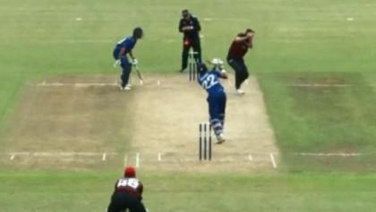 Auckland batsman hits six off bowler's head