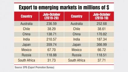 Readymade garment exports to new markets fall