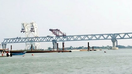 38th span installed, 5,700 meters of Padma Bridge visible