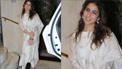 Sara Ali Khan in white, gold chanderi suit