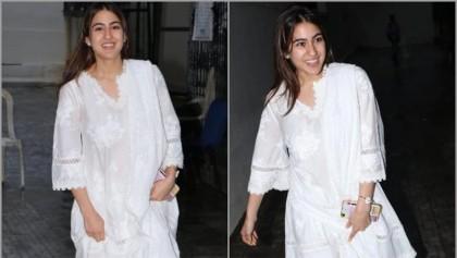 Sara Ali Khan in white chikankari kurta-palazzo set