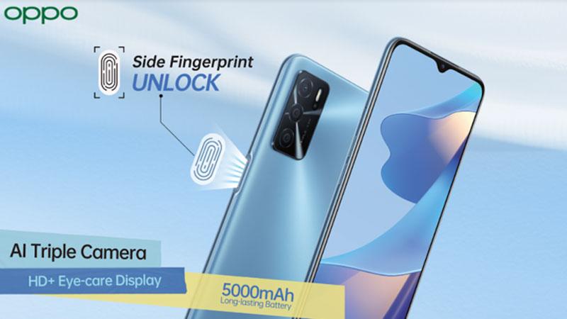 OPPO A16 with side-mounted fingerprint sensor