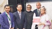 PM unveils 'Bangla Bhashar Bangabandhu'