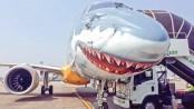 Shark-faced jet lands at Dhaka airport