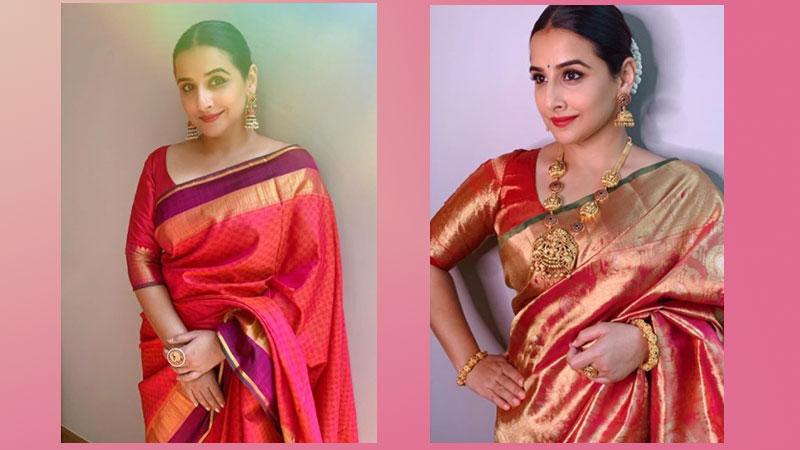 Vidya Balan's festive look in red Kanjeevaram silk sarees